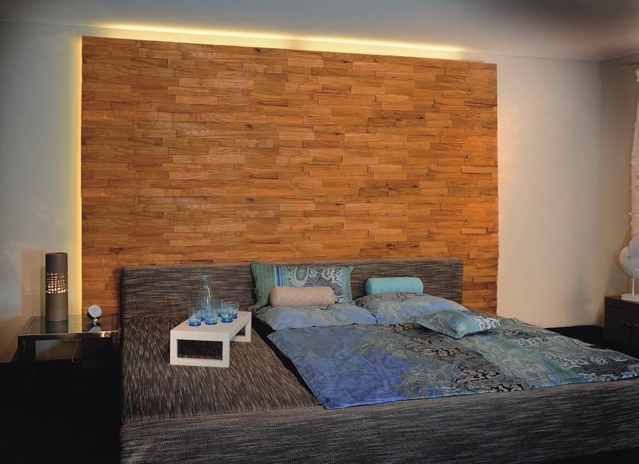 holz wandverkleidung hinter bett. Black Bedroom Furniture Sets. Home Design Ideas